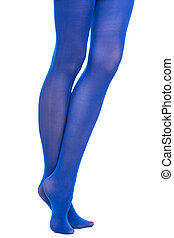Woman long legs and blue stockings isolated - Female fashion...