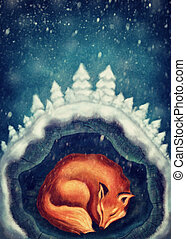Red fox sleeping in winter forest