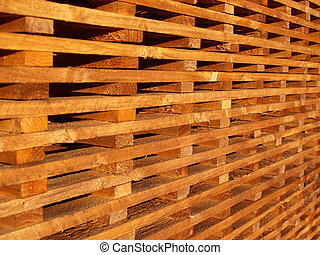 wooden battens - stack of wooden battens at builders...