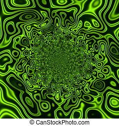 Vivid green coloured splatter.