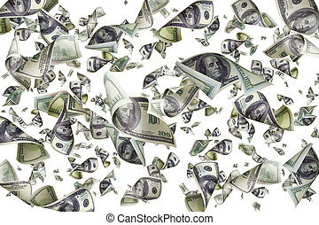 Falling dollars isolated on white background