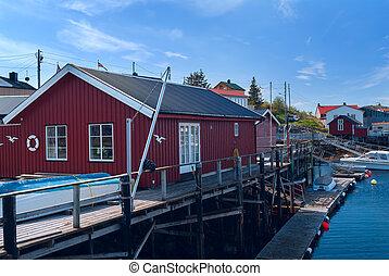 Fishermen houses on banks of the Norwegian island