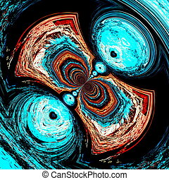 Psychedelic computer image - Deep swirly whirl Cyan color...