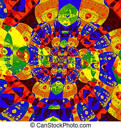 Abstract colorful spiral fractal. - Odd modern art. Mad...