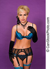 Blonde - Beautiful blonde in black and blue lingerie