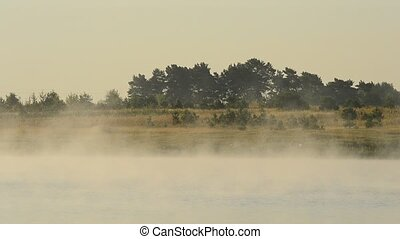 Beautiful fog rambles in morning above water in lake at dawn...