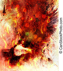 beautiful painting of eagle on an abstract background, color with fire and spot structures and ornamental mandala