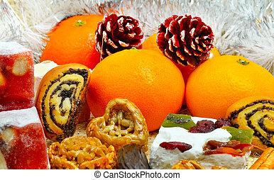 jul, Tangerer, turkisk, sweet;, lokum, tallkotte, och,...