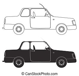 Saloon Car Outlines isolated on a white background