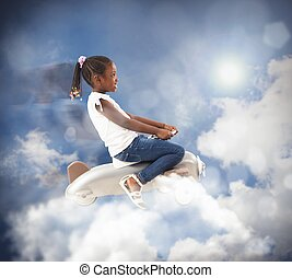 Airplane of Little girl - Girl with toy airplane in the sky