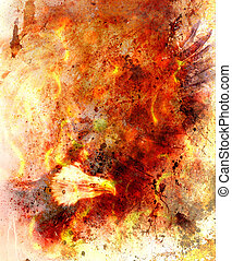 beautiful painting of eagle on an abstract background, color with fire and spot structures