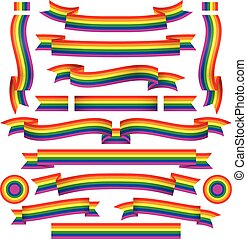 Set of diferent rainbow ribbons - Set of diferent gay...