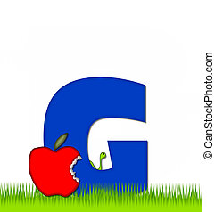 Alphabet Apple a Day Eaten Away G - The letter G, in the...