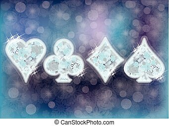 Casino poker snow banner, vector - casino poker snow banner