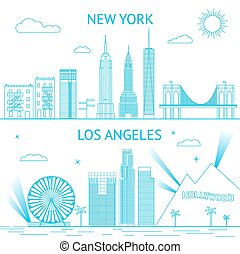 New York and Los Angeles skyline illustration in lines...