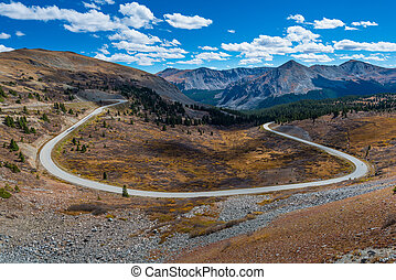 Cottonwood Pass Colorado - View of the road from the top of...