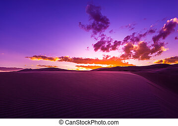 vacker, solnedgång, öken