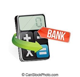 calculator bank sign illustration design graphic over white