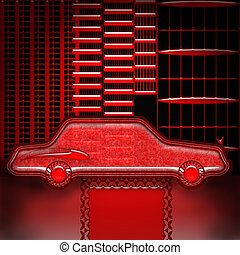 VIP Service - Expensive car symbol with red carpet in the...