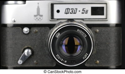 Old Soviet camera FED-5v self-timer, look into the lens, the...
