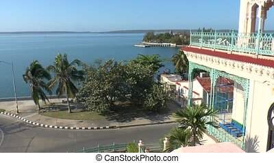 View on Cienfuegos bay with Palacio de Valle, Cuba