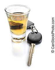 Dont drink and drive - glass of liquor and car keys on white...