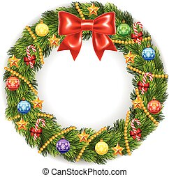 Illustration of Christmas Wreath - Vector illustration of...