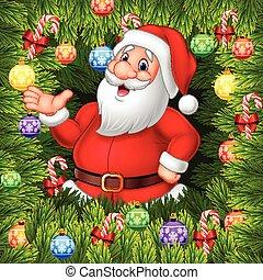 Cartoon funny Santa Clause present - Vector illustration of...