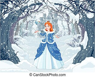 Princess and Bird - Illustration of princess with bird close...