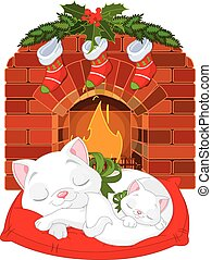 Kitten near Fireplace - Cute little kittens sleeping near...