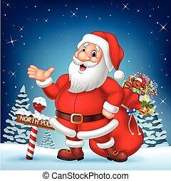 Cartoon funny Santa presenting - Vector illustration of...