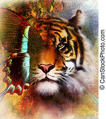 portrait tiger and butterfly wings   Color Abstract background and ornament, vintage and paper structure. Animal concept, eye contact. Blue, orange, green, red, black color.