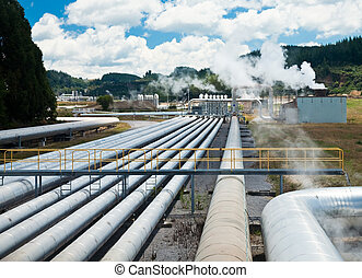 Geothermal power station - Pipes of Wairakei Geothermal...