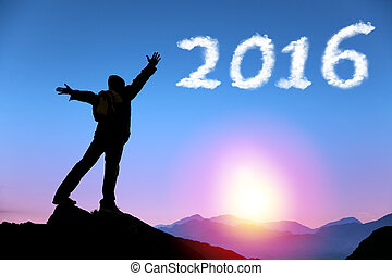 happy new year 2016.man on top of the mountain looking the cloud