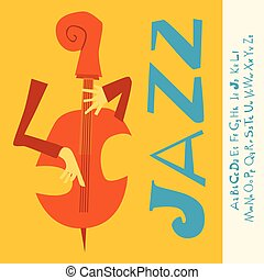 JAZZ concert, music background, flat Illustration with font