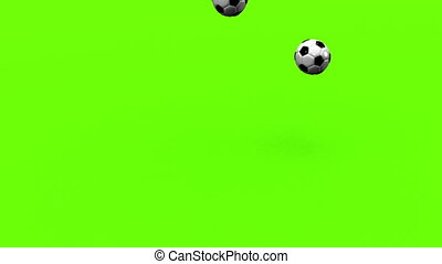 Bouncing Soccer Balls On Green Background