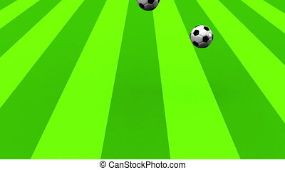 Bouncing Soccer Balls On Soccer Field