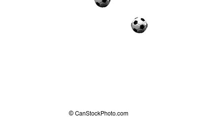 Bouncing Soccer Balls On White Background