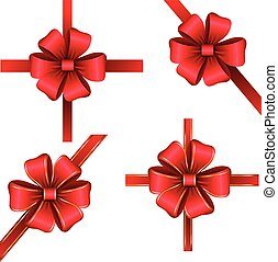 Sset of red gift bows with ribbons