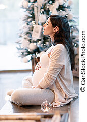 Pregnant woman in Christmastime - Beautiful gentle pregnant...