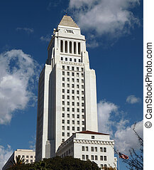 LA City Hall - Historic Los Angeles City Hall with a partly...