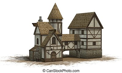 medieval taverne on sand area