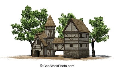 medieval taverne between trees