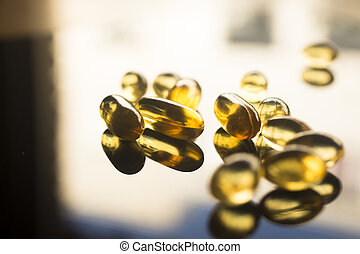 Fish oil capsules health food supplement - Cod liver fish...