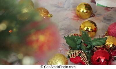 red Christmas ball on a Christmas tree - Red Christmas ball...
