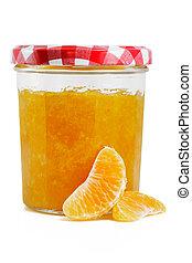 Marmelade jar with fruit - Tangerine and Orange jam isolated...
