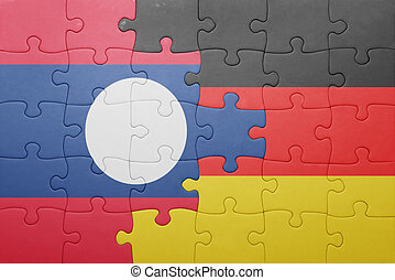 puzzle with the national flag of germany and laos