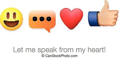 Emoticon, SÍMBOLOS, jogo, ícones, isolado,  emoji