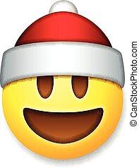 Santa Claus Emoticon laughing, holiday emoji smile symbol,...