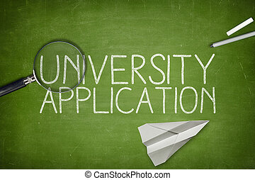 University application concept on blackboard with pen